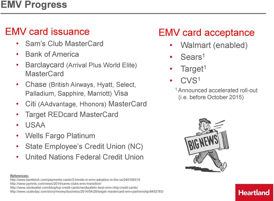 Target CVS Announced accelerated roll-out (i.e. before October 205) References: http://www.banktech.com/payments-s/3-trends-in-emv-adoption-in-the-us/2406550 http://www.pymnts.