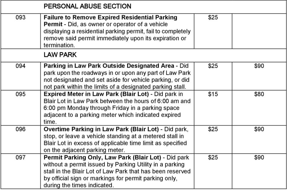 LAW PARK 094 Parking in Law Park Outside Designated Area - Did park upon the roadways in or upon any part of Law Park not designated and set aside for vehicle parking, or did not park within the