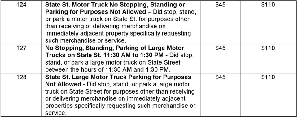127 No Stopping, Standing, Parking of Large Motor Trucks on State St.