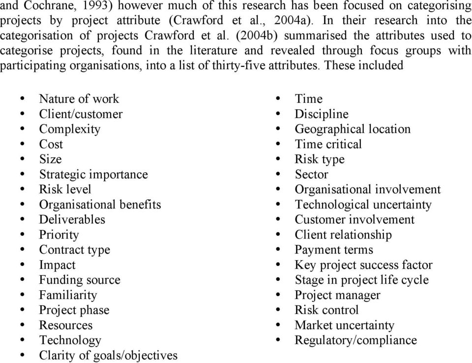 (2004b) summarised the attributes used to categorise projects, found in the literature and revealed through focus groups with participating organisations, into a list of thirty-five attributes.