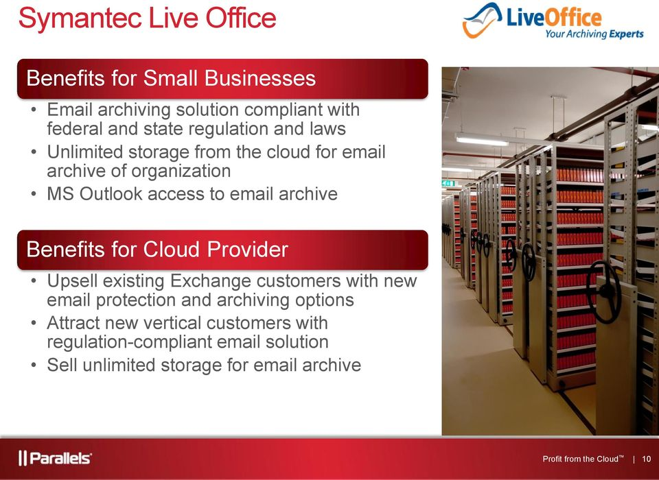 for Cloud Provider Upsell existing Exchange customers with new email protection and archiving options Attract new