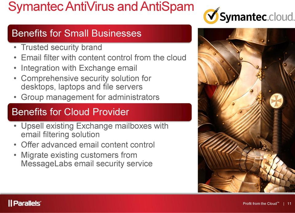 management for administrators Benefits for Cloud Provider Upsell existing Exchange mailboxes with email filtering solution
