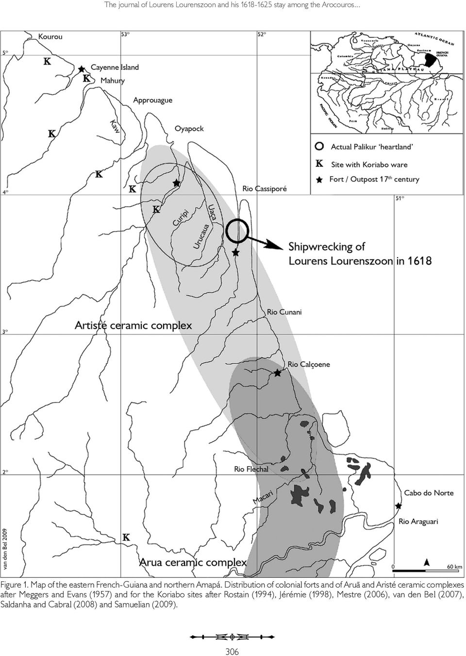 Distribution of colonial forts and of Aruã and Aristé ceramic complexes after Meggers and Evans