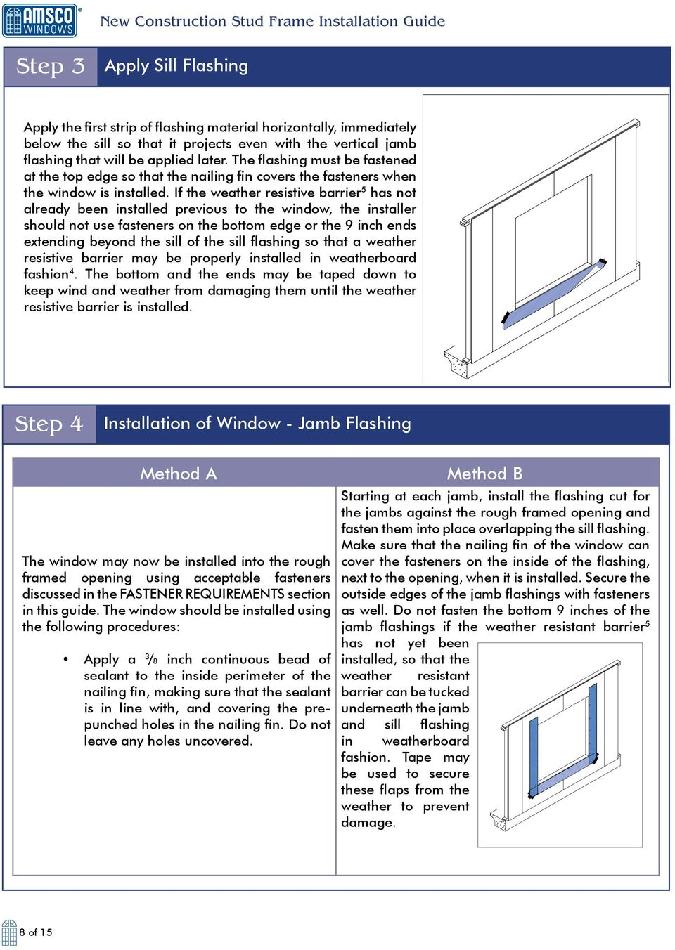 If the weather resistive barrier 5 has not already been installed previous to the window, the installer should not use fasteners on the bottom edge or the 9 inch ends extending beyond the sill of the