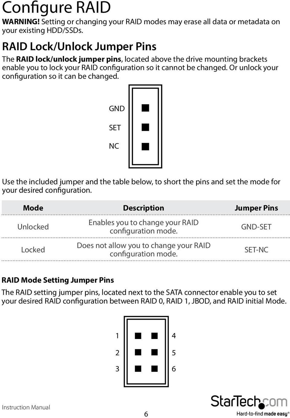 Or unlock your configuration so it can be changed. GND SET NC Use the included jumper and the table below, to short the pins and set the mode for your desired configuration.