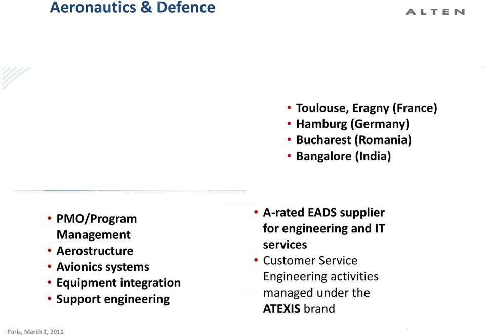 integration Support engineering A rated EADS supplier for engineering and IT services