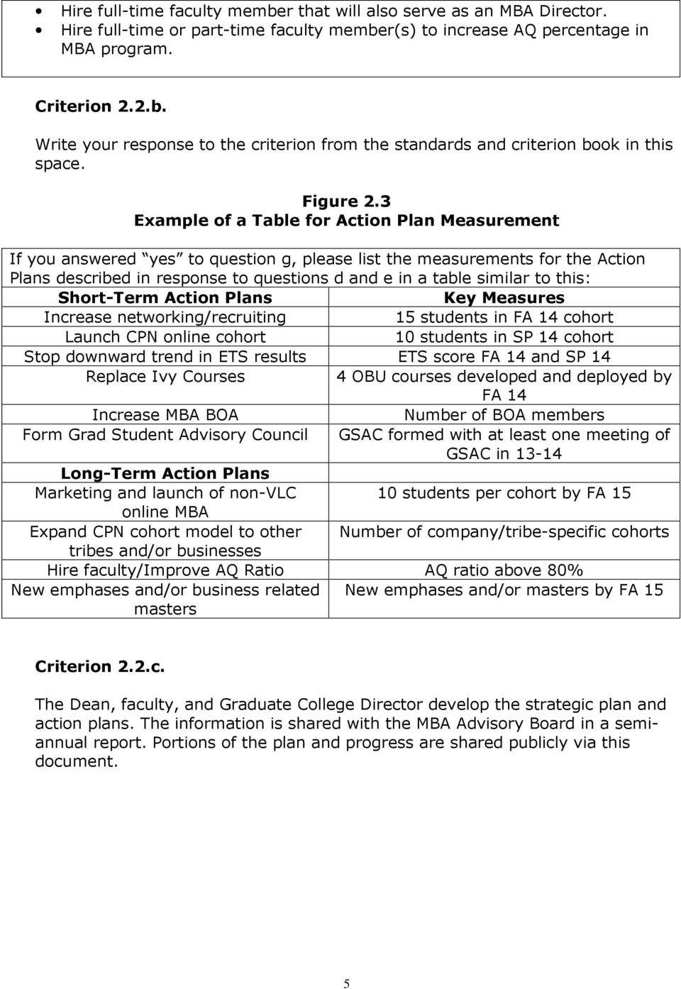3 Example of a Table for Action Plan Measurement If you answered yes to question g, please list the measurements for the Action Plans described in response to questions d and e in a table similar to