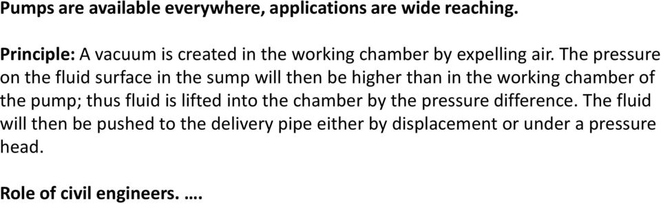 The pressure on the fluid surface in the sump will then be higher than in the working chamber of the pump;