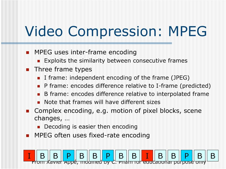 encodes difference relative to interpolated frame Note that frames will have different sizes Complex encoding,