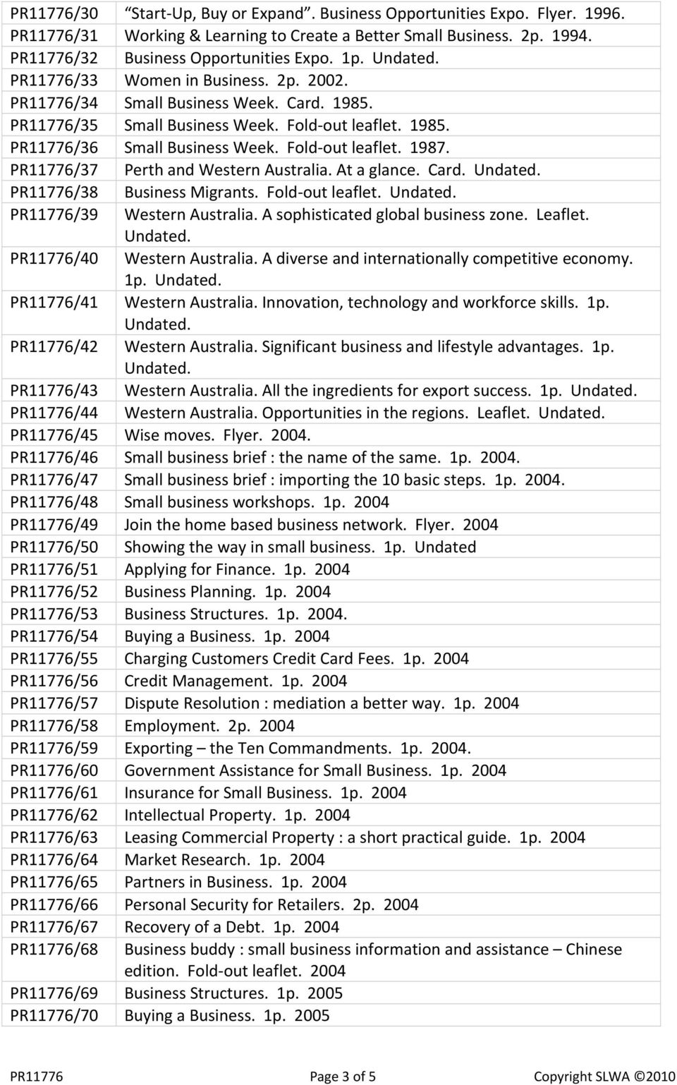 PR11776/37 Perth and Western Australia. At a glance. Card. PR11776/38 Business Migrants. Fold out leaflet. PR11776/39 Western Australia. A sophisticated global business zone. Leaflet.