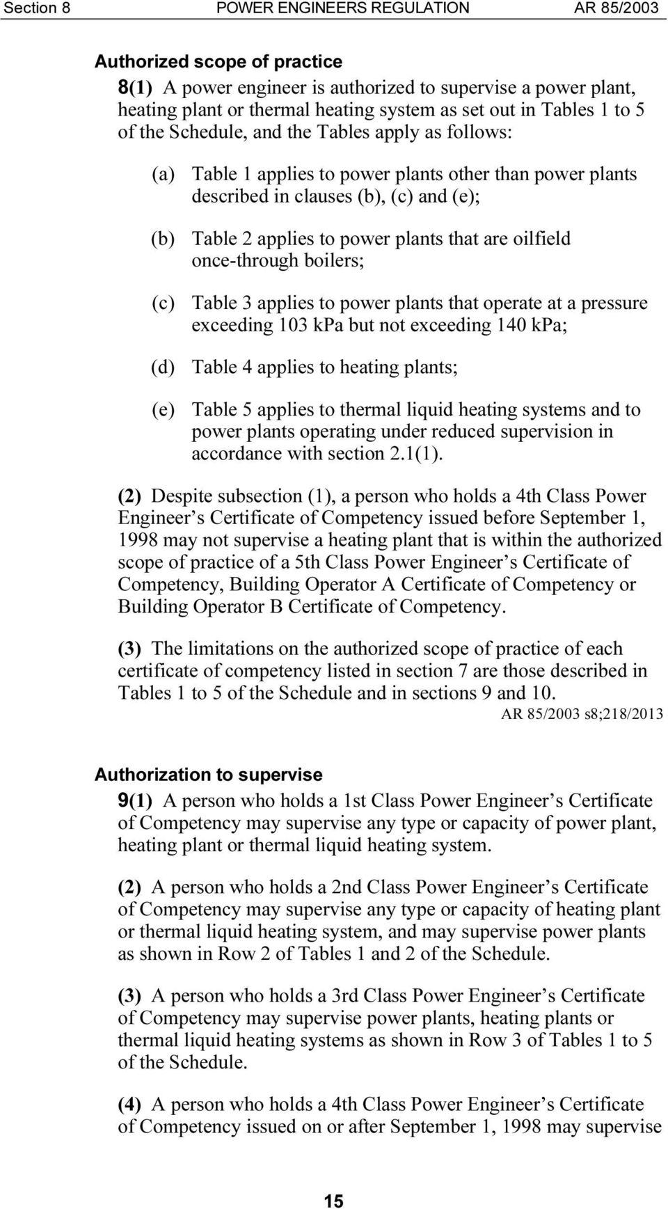 oilfield once-through boilers; (c) Table 3 applies to power plants that operate at a pressure exceeding 103 kpa but not exceeding 140 kpa; (d) Table 4 applies to heating plants; (e) Table 5 applies