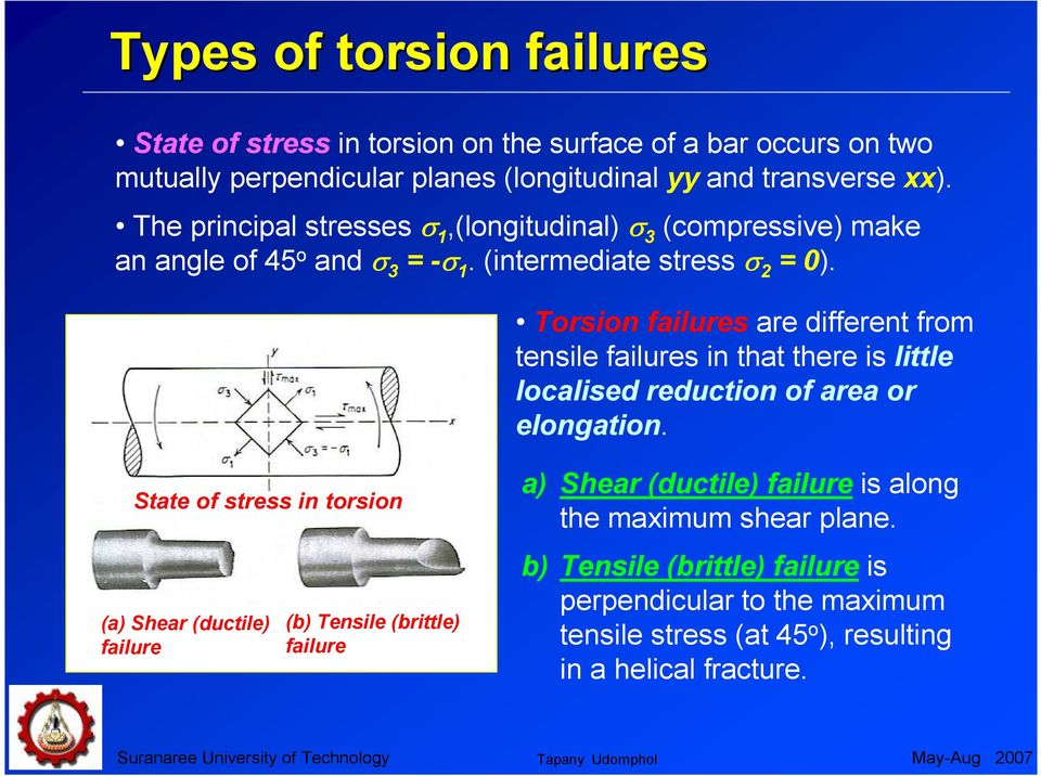 Torsion failures are different from tensile failures in that there is little localised reduction of area or elongation.