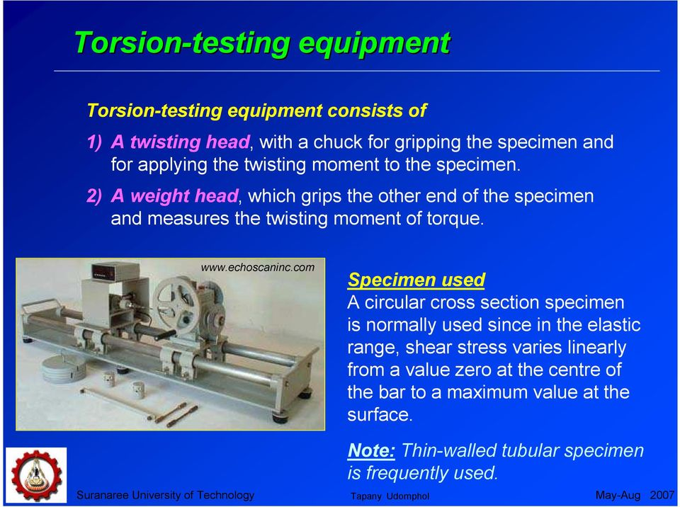 2) A weight head, which grips the other end of the specimen and measures the twisting moment of torque. www.echoscaninc.