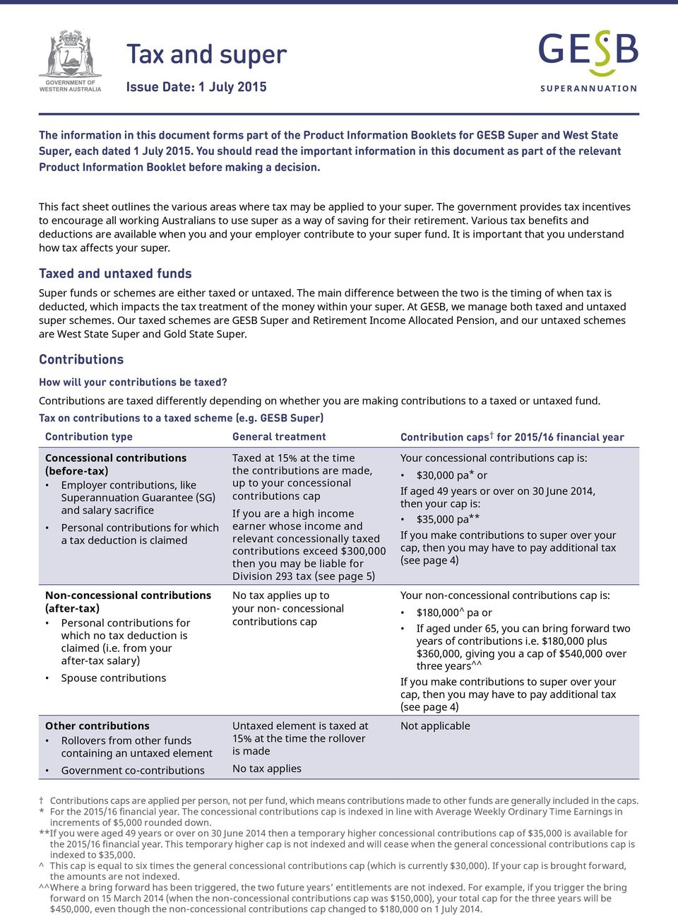 This fact sheet outlines the various areas where tax may be applied to your super.