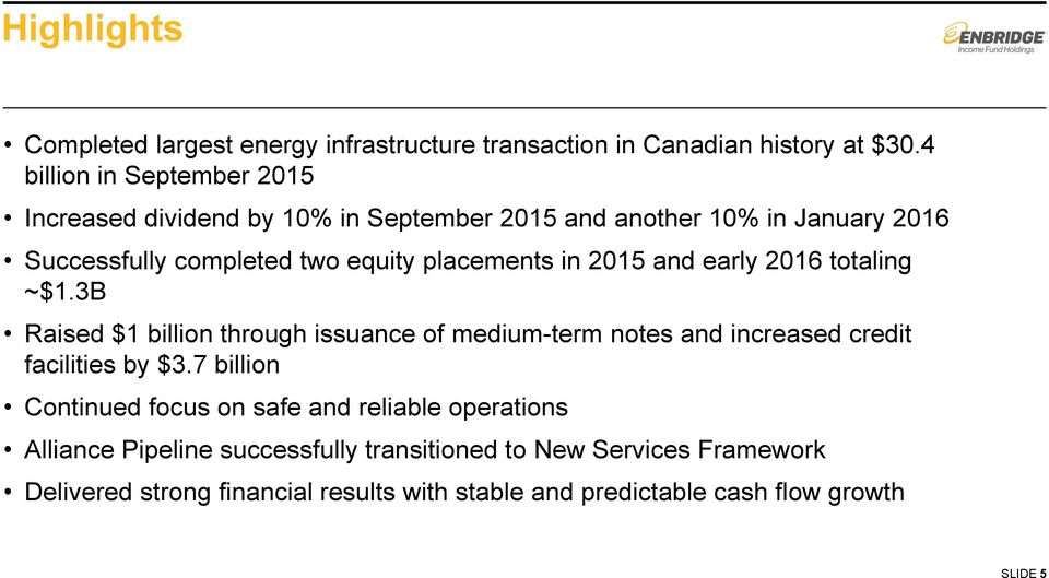 placements in 2015 and early 2016 totaling ~$1.3B Raised $1 billion through issuance of medium-term notes and increased credit facilities by $3.