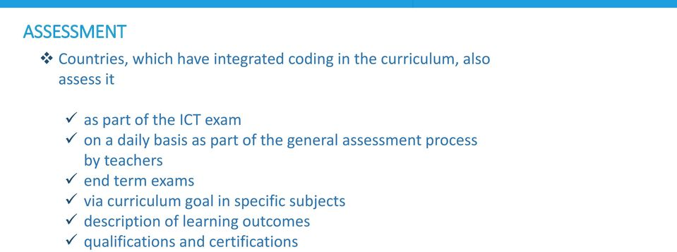 assessment process by teachers end term exams via curriculum goal in