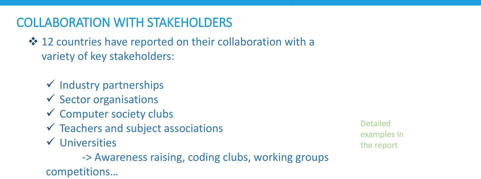 Computer society clubs Teachers and subject associations Universities ->
