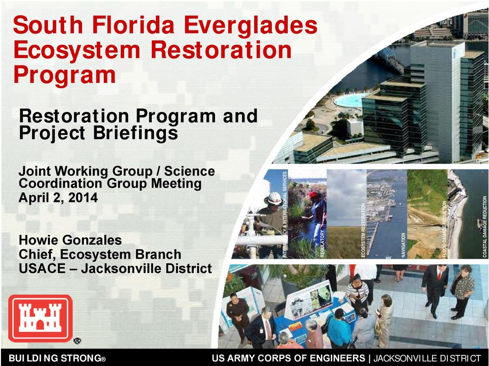 District INTERAGENCY & INTERNATIONAL SERVICES REGULATORY ECOSYSTEM RESTORATION NAVIGATION FLOOD DAMAGE REDUCTION