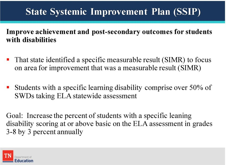 Students with a specific learning disability comprise over 50% of SWDs taking ELA statewide assessment Goal: Increase the
