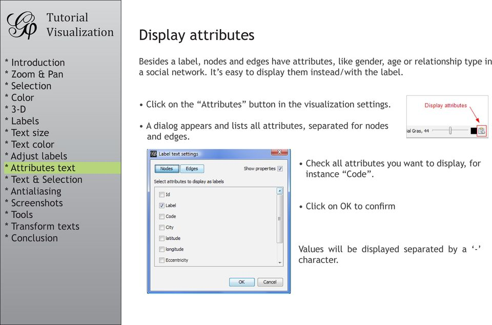 Click on the Attributes button in the visualization settings.
