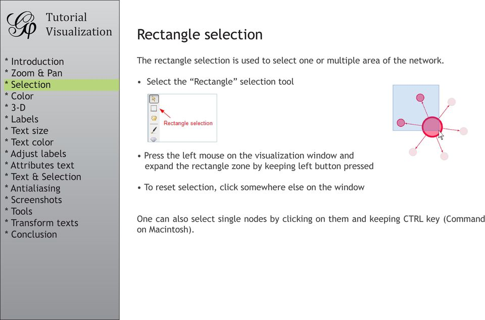 rectangle zone by keeping left button pressed To reset selection, click somewhere else on the