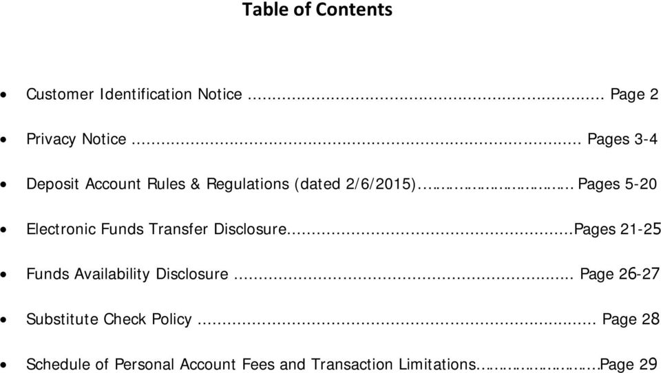 . Pages 5-20 Electronic Funds Transfer Disclosure.
