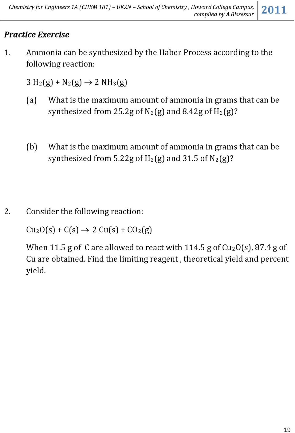 ammonia in grams that can be synthesized from 5.g of N(g) and 8.4g of H(g)?