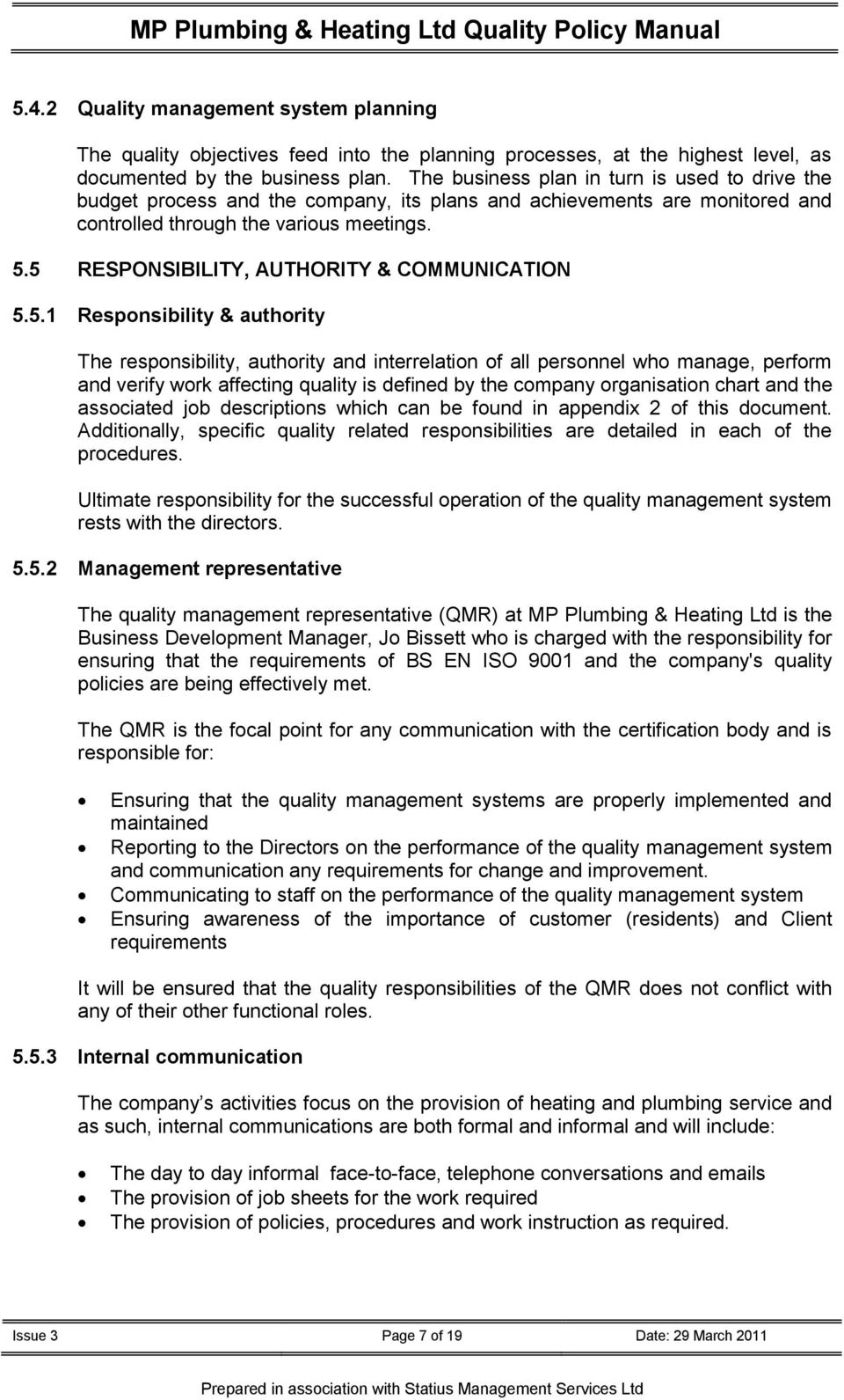 MP Plumbing & Heating Ltd Quality Policy Manual THE QUALITY POLICY ...