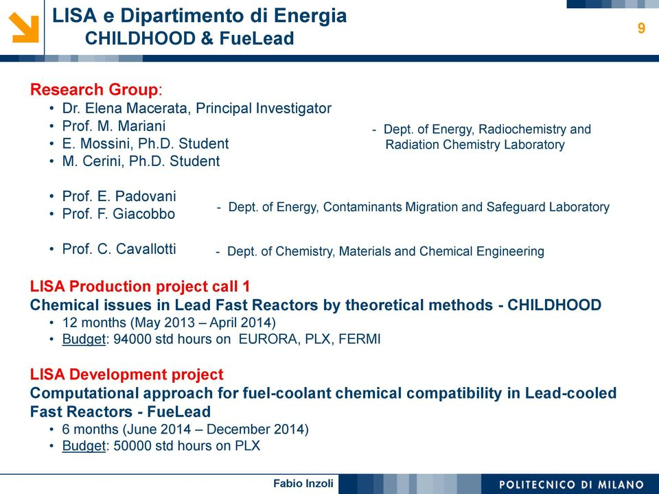 of Chemistry, Materials and Chemical Engineering LISA Production project call 1 Chemical issues in Lead Fast Reactors by theoretical methods - CHILDHOOD 12 months (May 2013 April 2014) Budget: