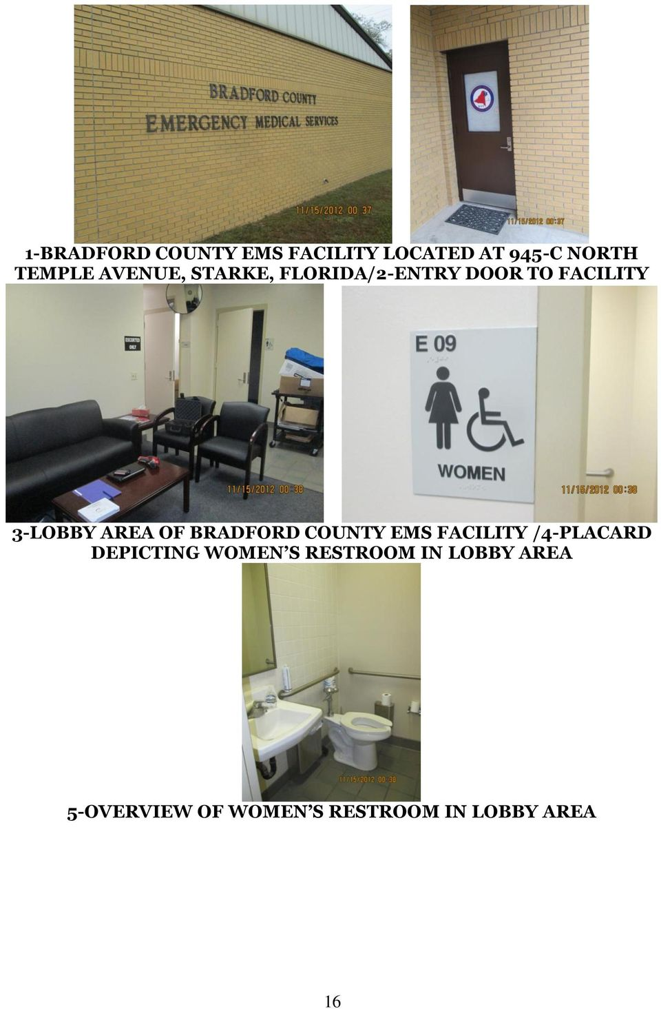 OF BRADFORD COUNTY EMS FACILITY /4-PLACARD DEPICTING WOMEN S