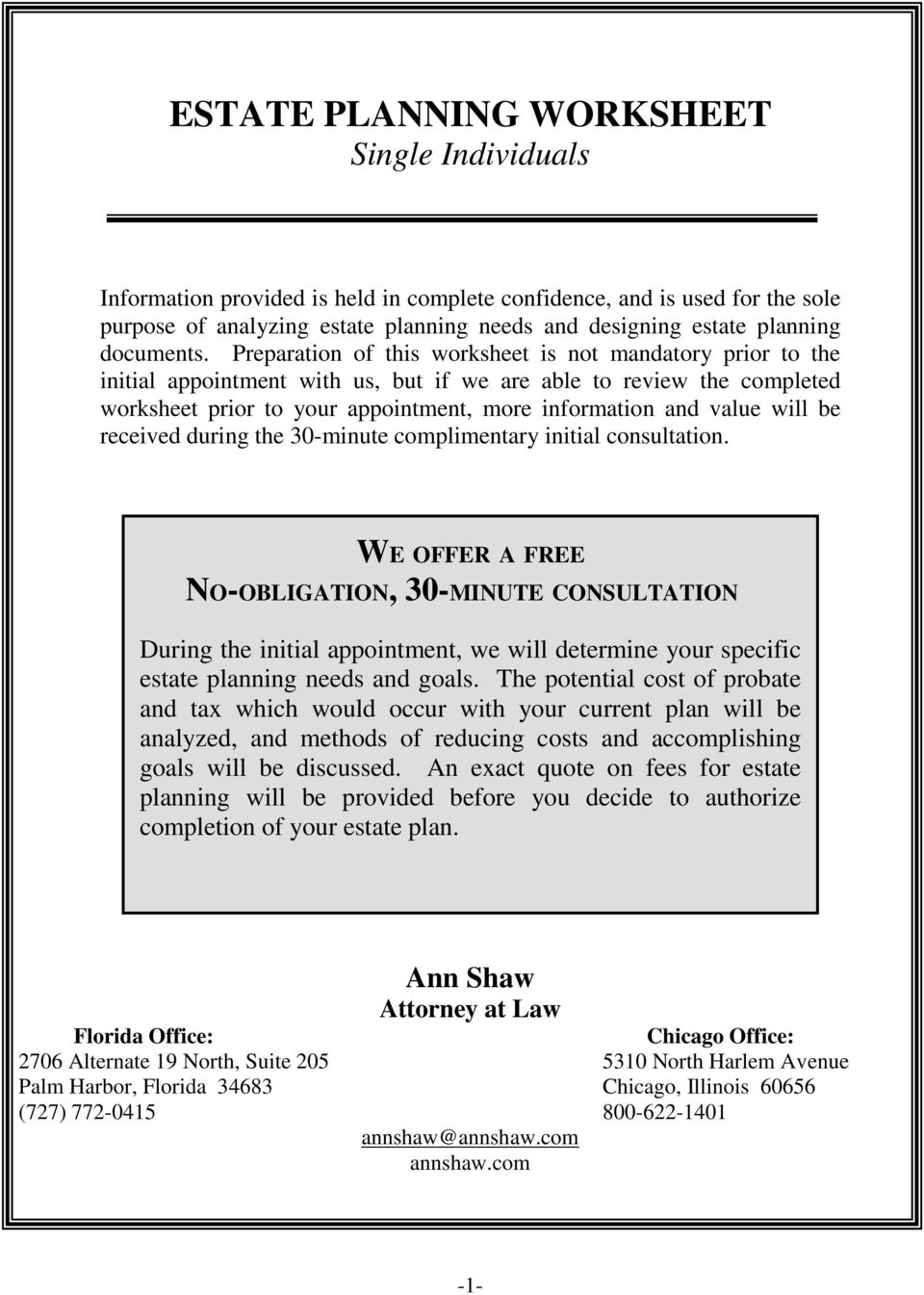 Worksheets Estate Planning Worksheet estate planning worksheet single individuals pdf preparation of this is not mandatory prior to the initial appointment with us but 2 planning