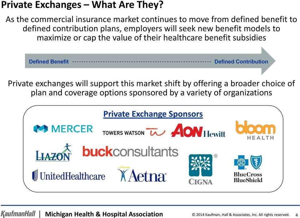 models to maximize or cap the value of their healthcare benefit subsidies Defined Benefit Defined Contribution Private exchanges will