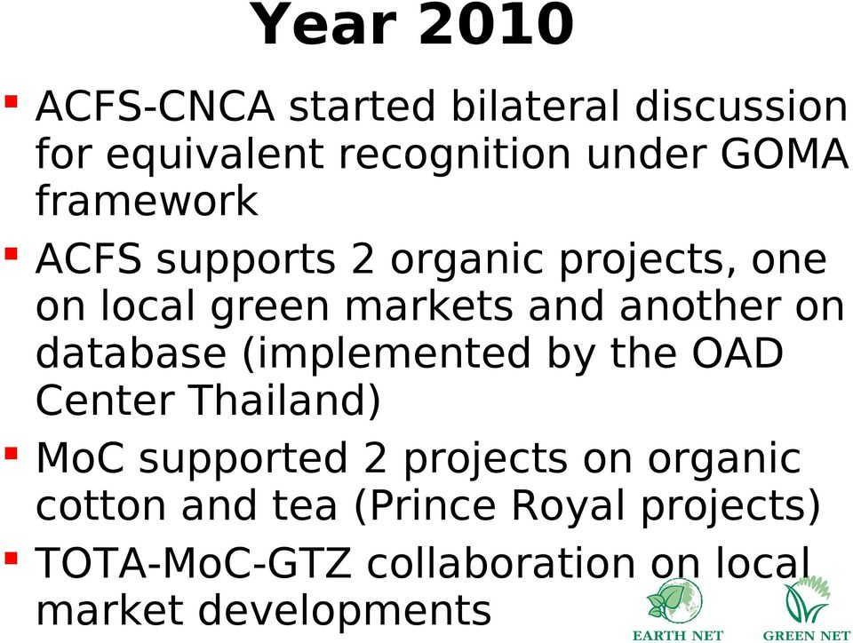 database (implemented by the OAD Center Thailand) MoC supported 2 projects on organic