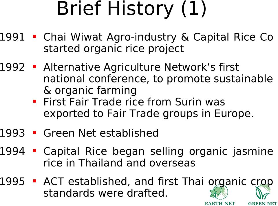 from Surin was exported to Fair Trade groups in Europe.