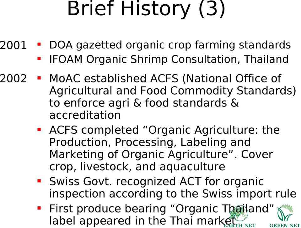 Agriculture: the Production, Processing, Labeling and Marketing of Organic Agriculture. Cover crop, livestock, and aquaculture Swiss Govt.