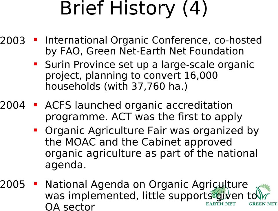 ) 2004 ACFS launched organic accreditation programme.