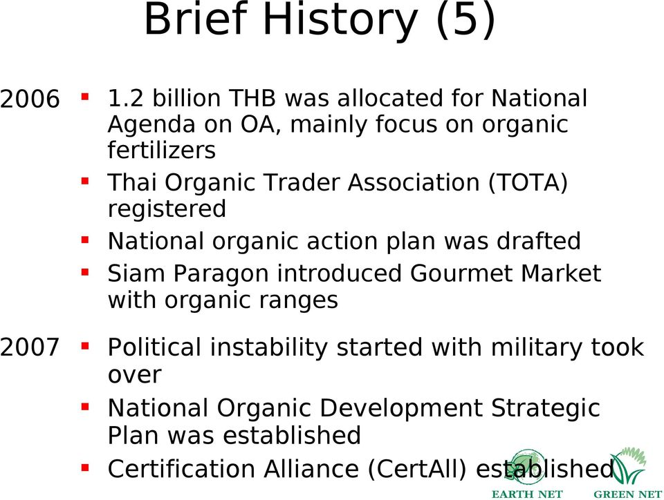Trader Association (TOTA) registered National organic action plan was drafted Siam Paragon introduced