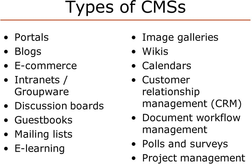 galleries Wikis Calendars Customer relationship management