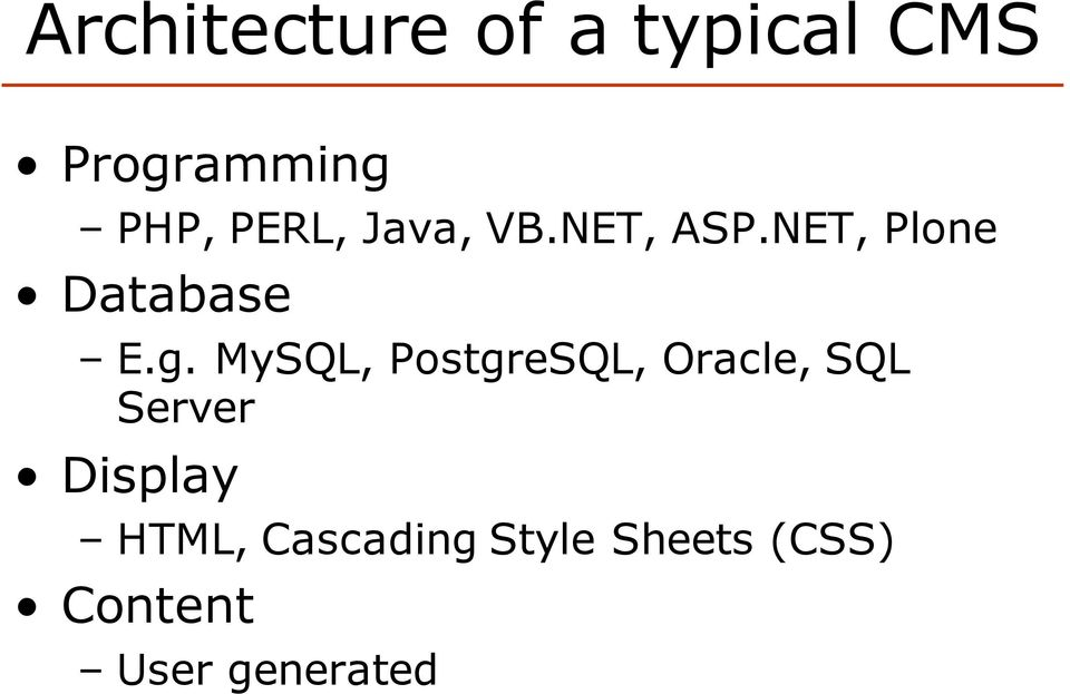 MySQL, PostgreSQL, Oracle, SQL Server Display