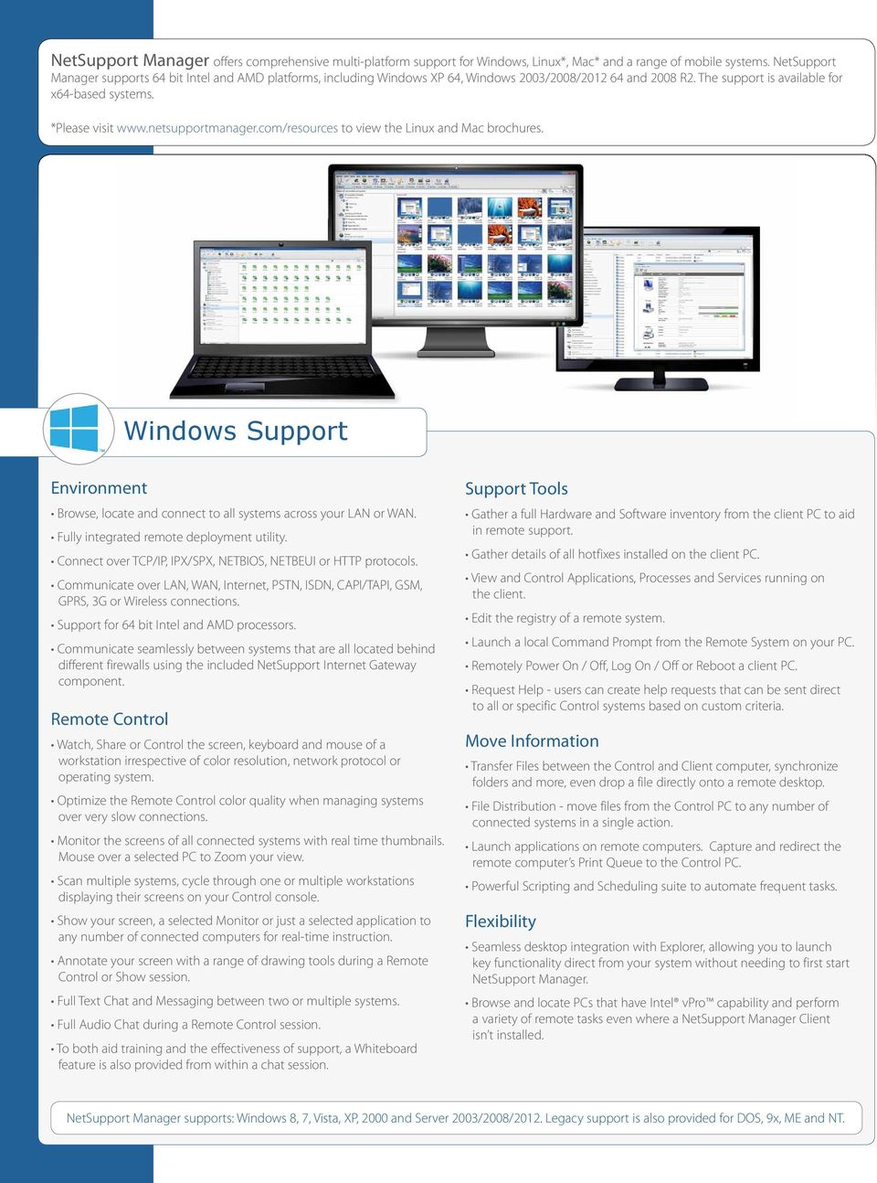 netsupportmanager.com/resources to view the Linux and Mac brochures. Windows Support Environment Browse, locate and connect to all systems across your LAN or WAN.
