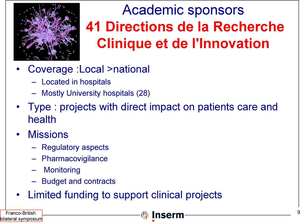projects with direct impact on patients care and health Missions Regulatory aspects