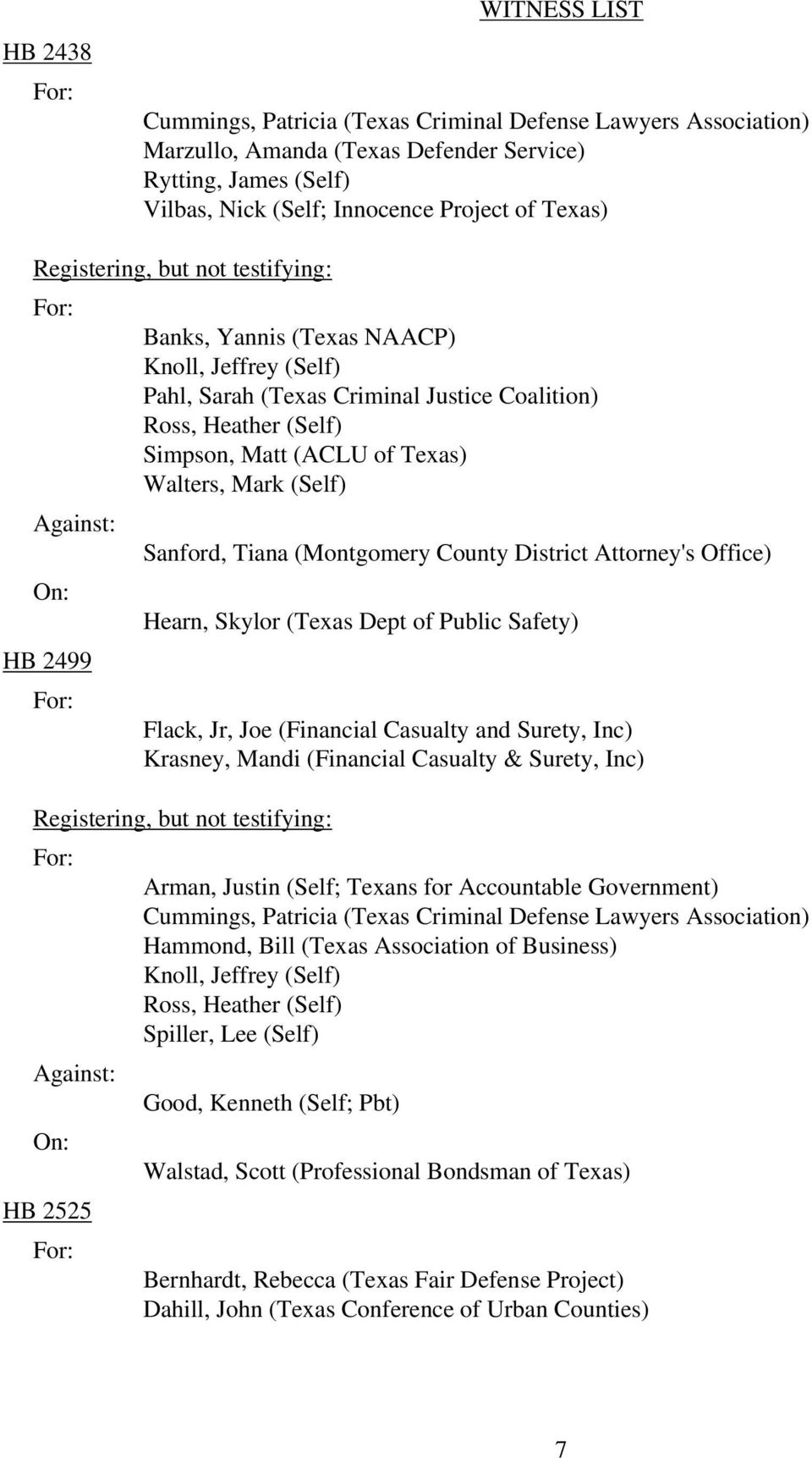 Krasney, Mandi (Financial Casualty & Surety, Inc) HB 2525 Arman, Justin (Self; Texans for Accountable Government) Hammond, Bill (Texas Association of Business) Ross, Heather (Self)
