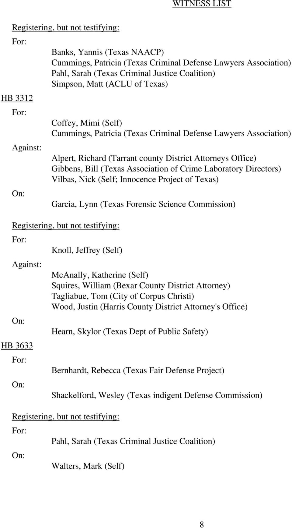 (Self) Squires, William (Bexar County District Attorney) Tagliabue, Tom (City of Corpus Christi) Wood, Justin (Harris County District Attorney's Office)