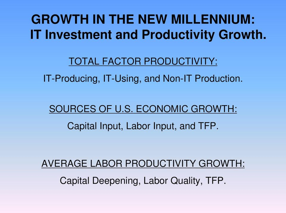 Production. SOURCES OF U.S. ECONOMIC GROWTH: Capital Input, Labor Input, and TFP.