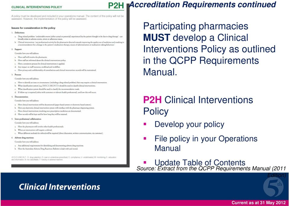 P2H Clinical Interventions Policy Develop your policy File policy in your