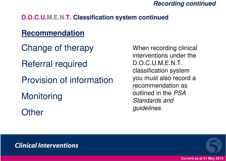 therapy Referral required Provision of information Monitoring Other When recording