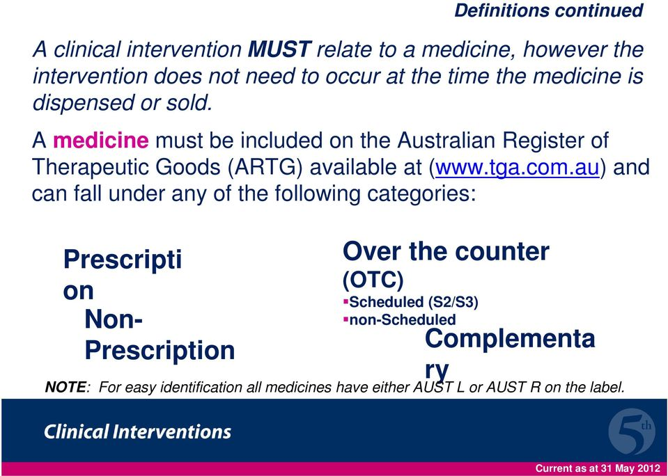 A medicine must be included on the Australian Register of Therapeutic Goods (ARTG) available at (www.tga.com.