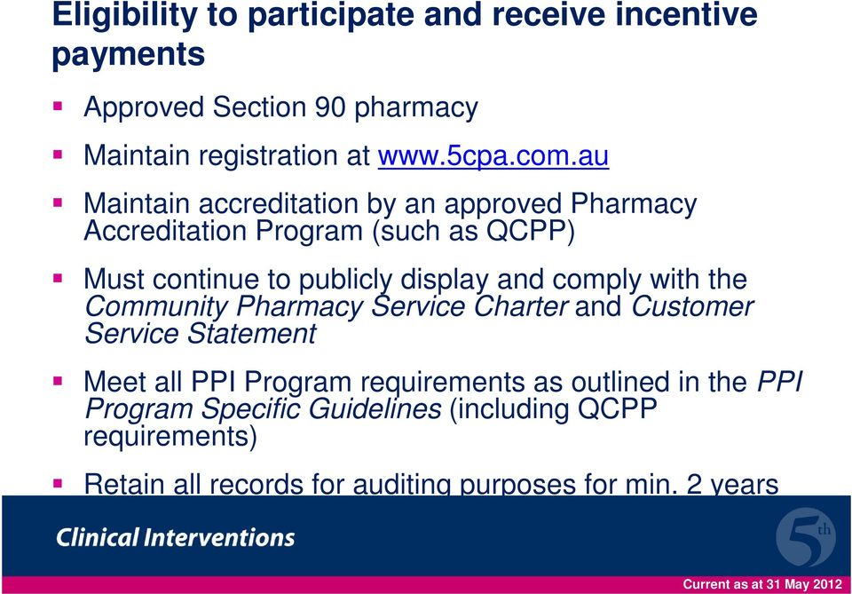 comply with the Community Pharmacy Service Charter and Customer Service Statement Meet all PPI Program requirements as