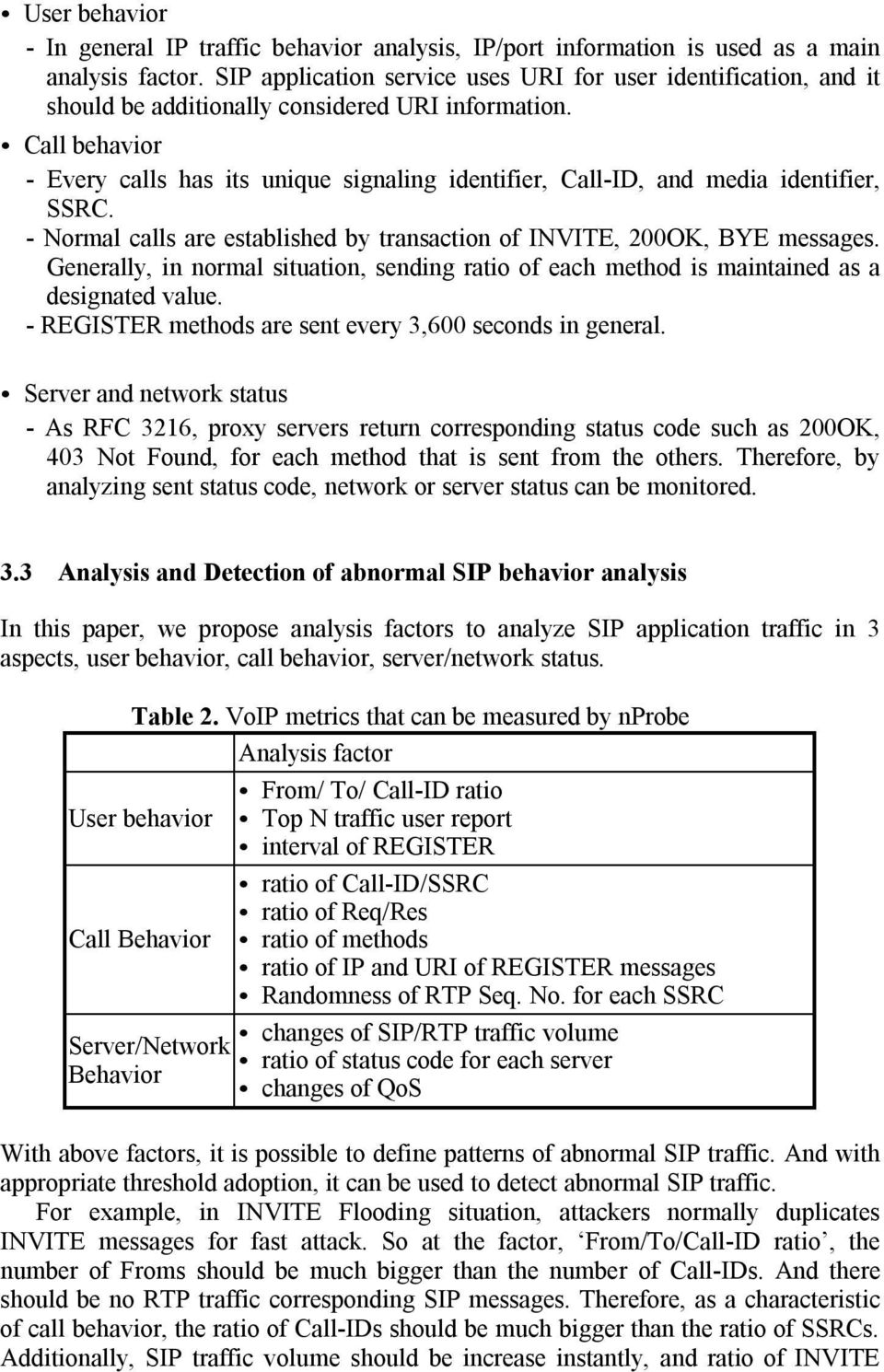 Call behavior - Every calls has its unique signaling identifier, Call-ID, and media identifier, SSRC. - Normal calls are established by transaction of INVITE, 200OK, BYE messages.