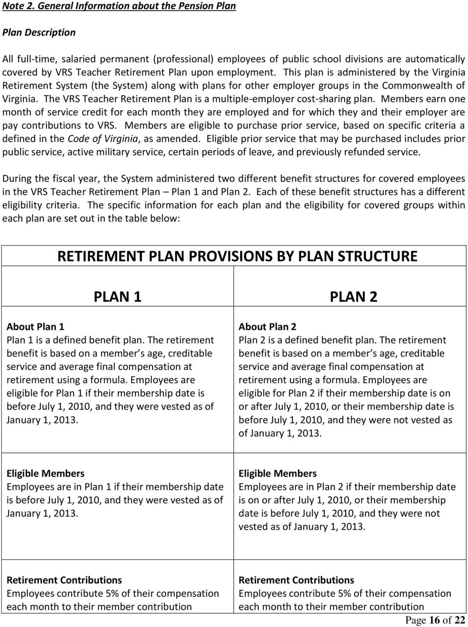 Plan upon employment. This plan is administered by the Virginia Retirement System (the System) along with plans for other employer groups in the Commonwealth of Virginia.